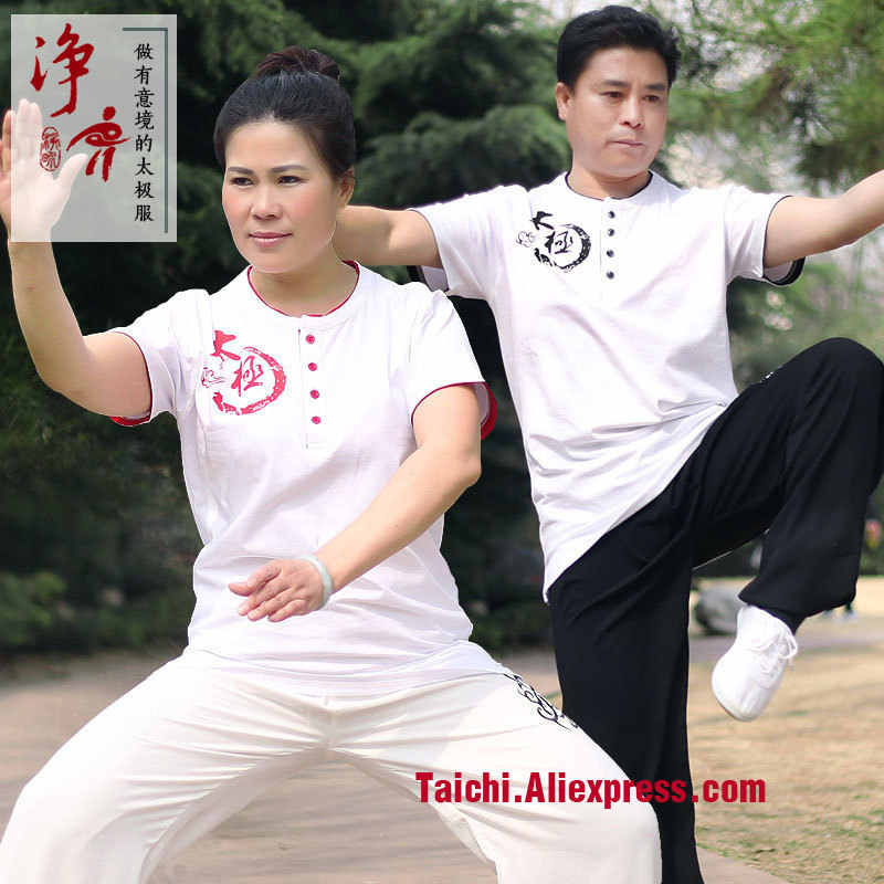 Pure Cotton Short Sleeve Tai Chi Summer Men And Women T Shirt Martail Art Top 3 Colors