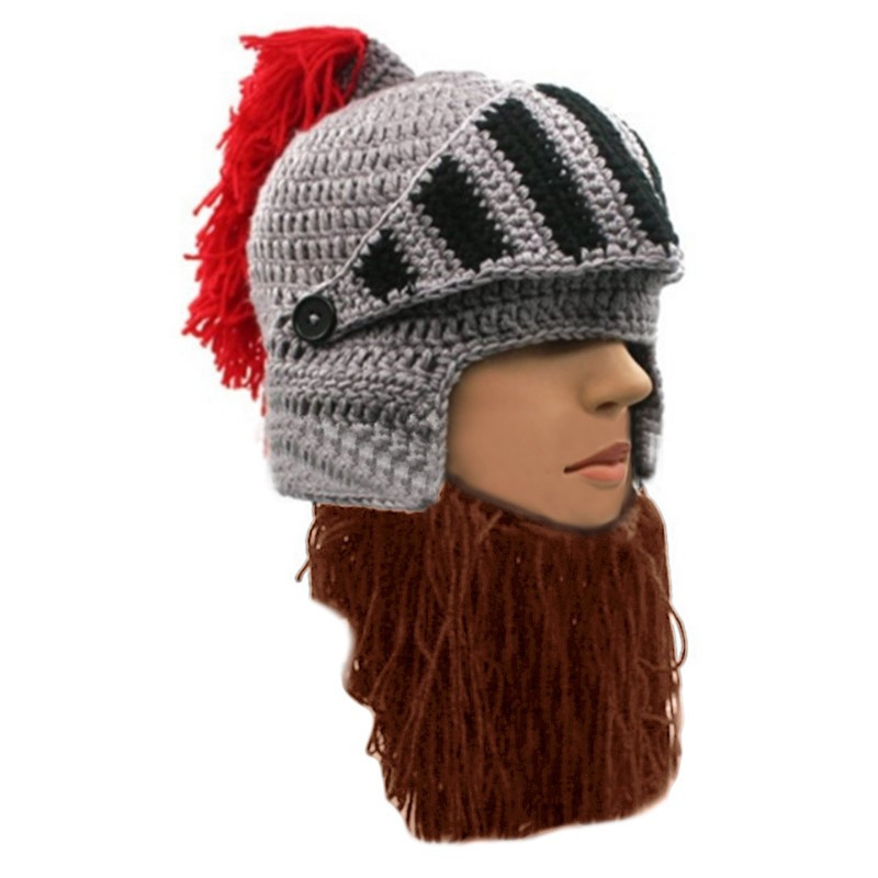 Handmade Man Beard Hat Funny Cap Red Tassel Roman Knight Knit Helmet Barbarian