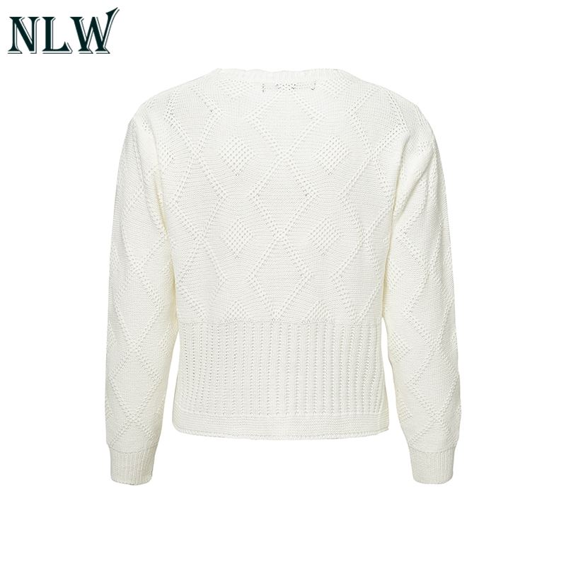 2019 NLW Vintage Casual Solid White Sweater Women Winter Knitted ... cac4f4eec