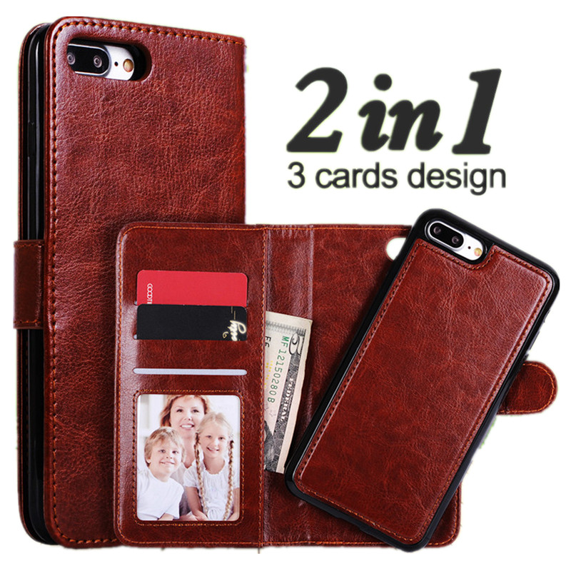 Pour iPhone 7 Plus Case Luxury Magnetic Wallet 2 In 1 Detachable Flip Leather Cover For iPhone 7 6 6S Plus Case Lanyard Card Slot