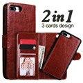Para iphone 7 plus case 2 en 1 lujo monedero magnético desmontable cubierta de cuero del tirón para el iphone 7 6 6 s plus case tarjeta lanyard ranura