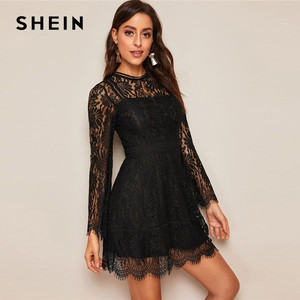 Image 5 - SHEIN Romantic Trumpet Sleeve Floral Lace Overlay Dress Women Clothes 2019 Spring Zipper Flounce Sleeve Mini Dress Party Dresses