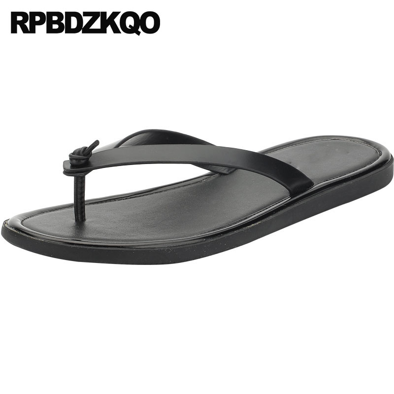 Men Sandals Leather Summer Flip Flop Breathable Slip On Flat Water Black 2018 Open Toe Slippers Shoes Strap Slides Beach Italian