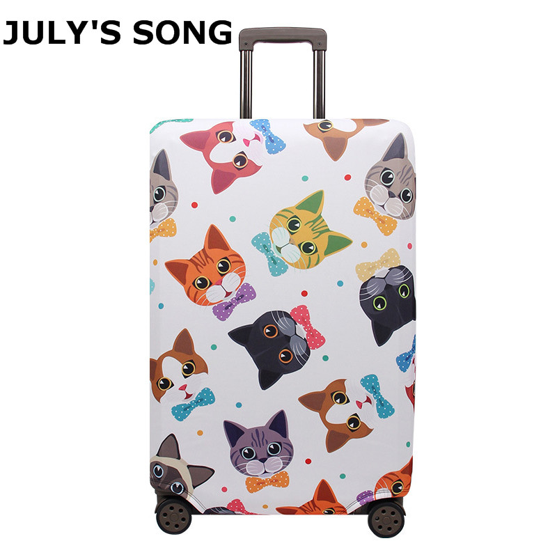JULY'S SONG Cat Pattern Travel Luggage Cover Elastic Trolley Suitcase Women's Men's Protect Dust Luggage Case Accessories Supply