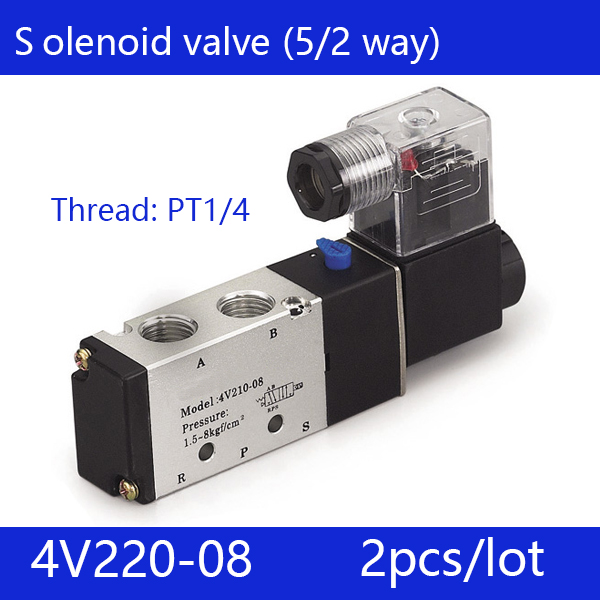 Free shipping 2pcs/pcs good qualty 5 port 2 position Solenoid Valve 4V220-08,have DC24v,DC12V,AC24V,AC36V,AC110V,AC220V,AC380V 2pcs free shipping good qualty 3 port 2 position solenoid valve 3v110 06 nc normally closed 3 2way 1 8 dc12v dc24v ac220v