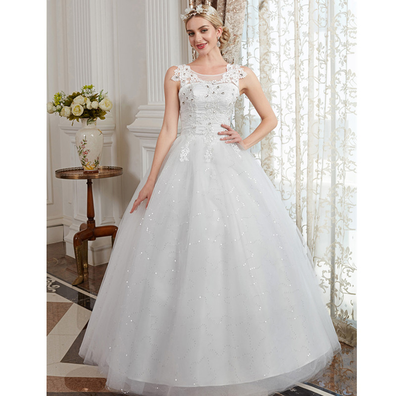 LAN TING BRIDE Ball Gown Scoop Neck Floor Length Tulle Beaded Lace Custom Wedding Dresses with Appliques