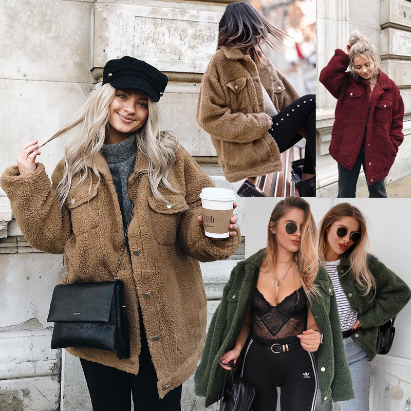Misauu Fleece Faux Shearling Fur Jacket Coat Women Autumn Winter Plush Warm Thick Teddy Coat Female Casual Overcoat Outerwear