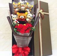 Rilakkuma Plush Skin Relax Bear plush toys with Doctorial hats cartoon flower Bouquet Stuffed Animal Dolls For Graduation gifts