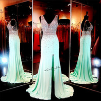 Luxury Mint Green Crystals Prom Dresses Long 2017 Formal Evening Gowns Mermaid Split Side V Neck