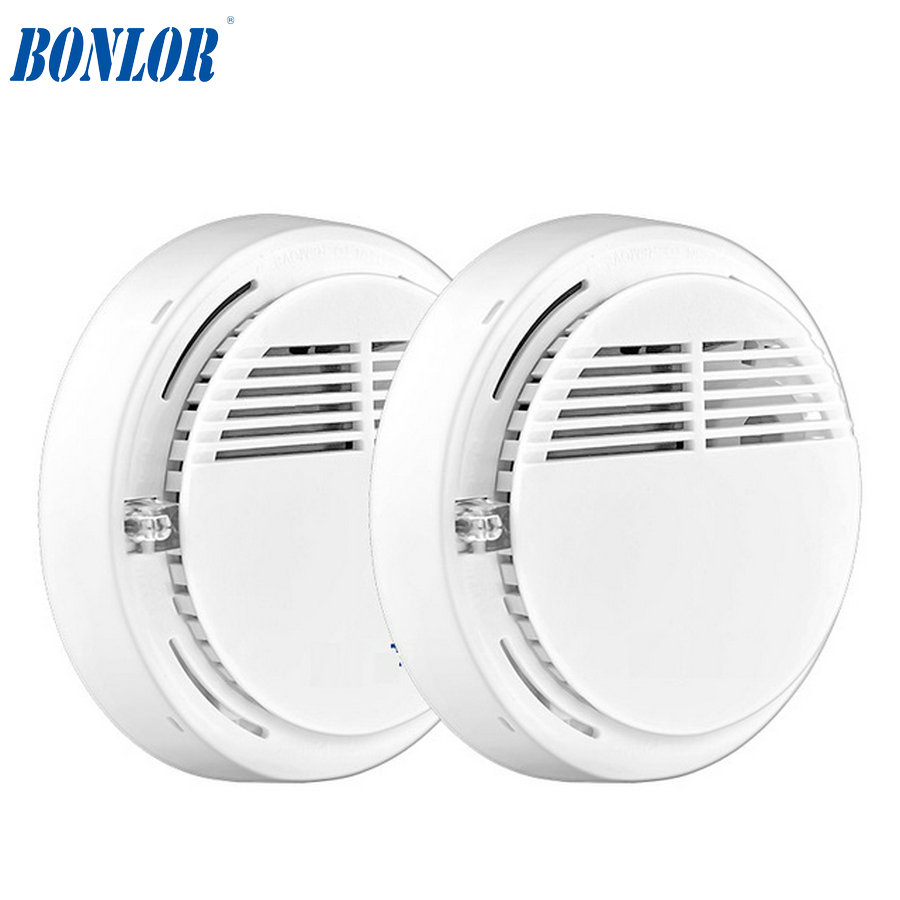 BONLOR 2ps Wireless Alarm Security Smoke Fire Detector/Sensor For Home House Office GSM SMS Alarm Systems 433/315Mhz
