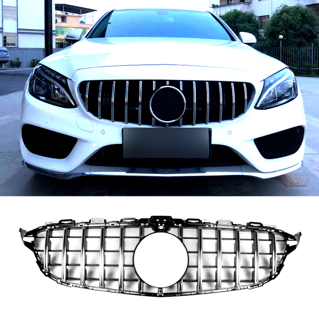 Carmonsons for Mercedes Benz C Class W205 2015+ C180 C200 C260 Chrome Front Bumper AMG GT R ABS Grille Accessories Car Styling