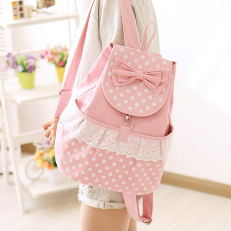 Adomoe Japan Style Kawaii Dot Lace Bow Backpack Teens Casual Canvas School Bag Korean Mori Girl Fresh Students Travel Backpacks