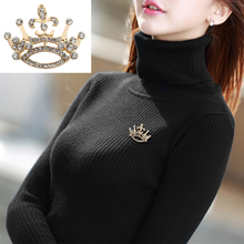Fashion Full Crystal Crown Brooch For Women Golden Queen Princess Female Charm Jewelry Badge Gift