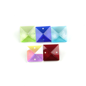 Image 4 - Kleuren 22mm Kristal Vierkante Kralen In 2 Gaten Voor Home Decoratie Accessoires, Kristal Gordijn Kralen, kristallen Kroonluchter Kraal