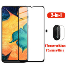 2 in 1 Tempered Glass For For Samsung Galaxy A30 A50 A10 A20 A70 M10 M20 M30 A40 A20E Full Cover Camera Screen Protector Film(China)