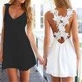 Vestido de verão 2016 Nova Moda Mulheres Sexy V neck Floral Lace Backless Beach Dress Ladies Chiffon Mini Vestidos Vestidos Mais tamanho