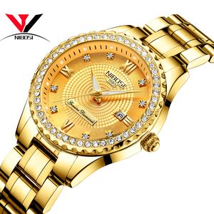 Image 5 - NIBOSI זהב שעון נשים 2019 יוקרה מותג נשים שעונים עמיד למים אופנה שמלת יהלומי קוורץ מותג ליידי יד שעונים Saat