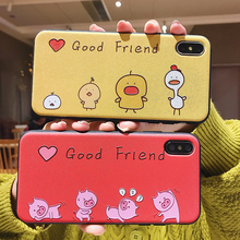 Embossed mobile phone case for iphone 7 xr xs max 8 plus 6s Good friend Cartoon