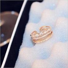 Роскошные ААА кубического циркония Открытое кольцо Мода 3 слоя