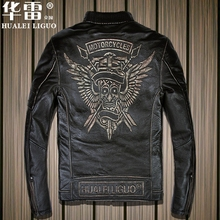 new style men's cow leather mens logo coat cowhide genuine leather vintage rider jacket