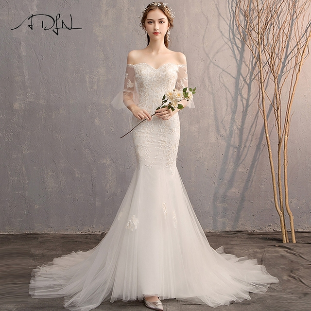 ADLN גבוהה באיכות התלקחות שרוול Applique חתונת שמלות Vestido דה Novia מתוקה תחרת בת ים הכלה שמלת שמלות לחתונה