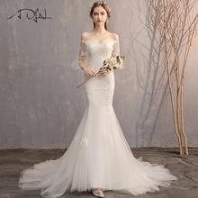 ADLN 高品質フレアスリーブアップリケウェディングドレス Vestido デ · ノビア恋人レースマーメイド花嫁のドレスのための