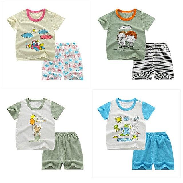 Новинка 2019 года, комплекты с короткими рукавами для маленьких мальчиков топы и шорты с рисунком для маленьких девочек летний детский комбинезон, детский хлопковый комплект одежды