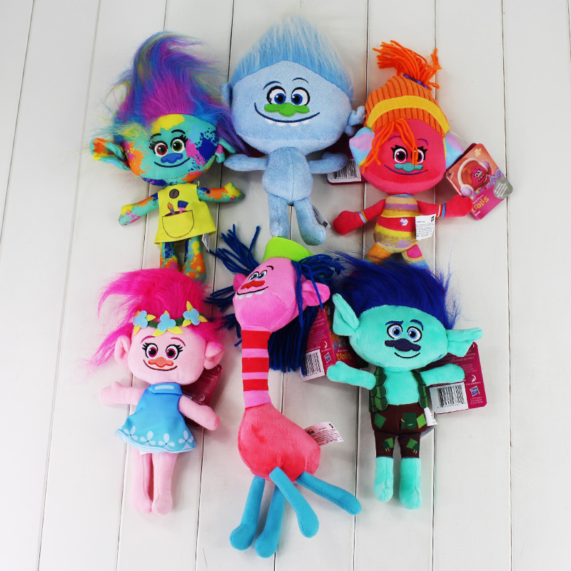 6pcs/lot High Quality Trolls Plush Toys Poppy Branch