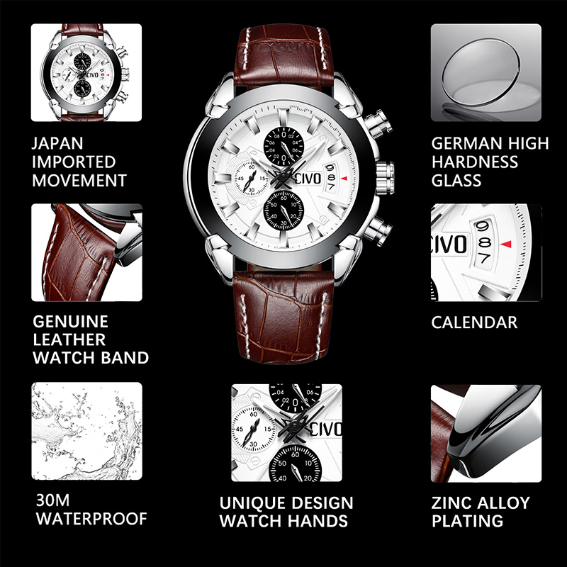 f72776920 Genuine Leather Sport Watch Men CIVO Waterproof Chronograph Date Calendar  Analogue Watches For Men Teenager Student Quartz Watch-in Quartz Watches  from ...