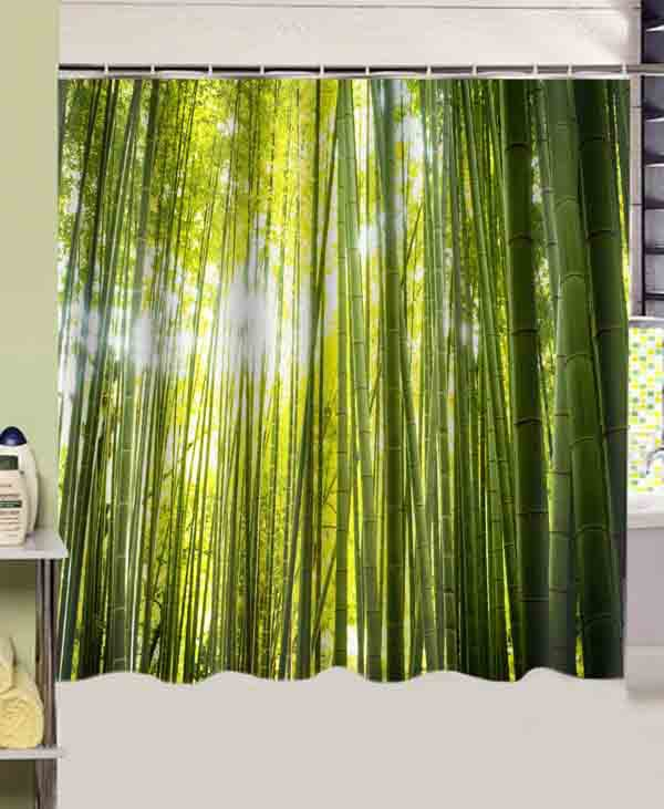Bathroom products forest green bamboo printed 180cmx180cm - Rideau de douche polyester ...