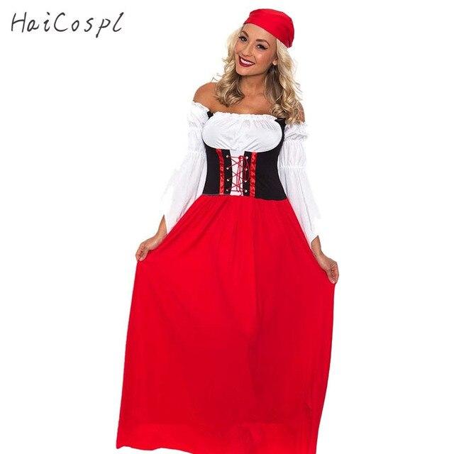 Rode Lange Jurk.Vrouwen Oktoberfest Kostuum Octoberfest Beierse Party Volwassen