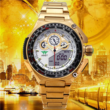 AMST genuine special multifunction dual display when gold watch waterproof watch business men burst models military