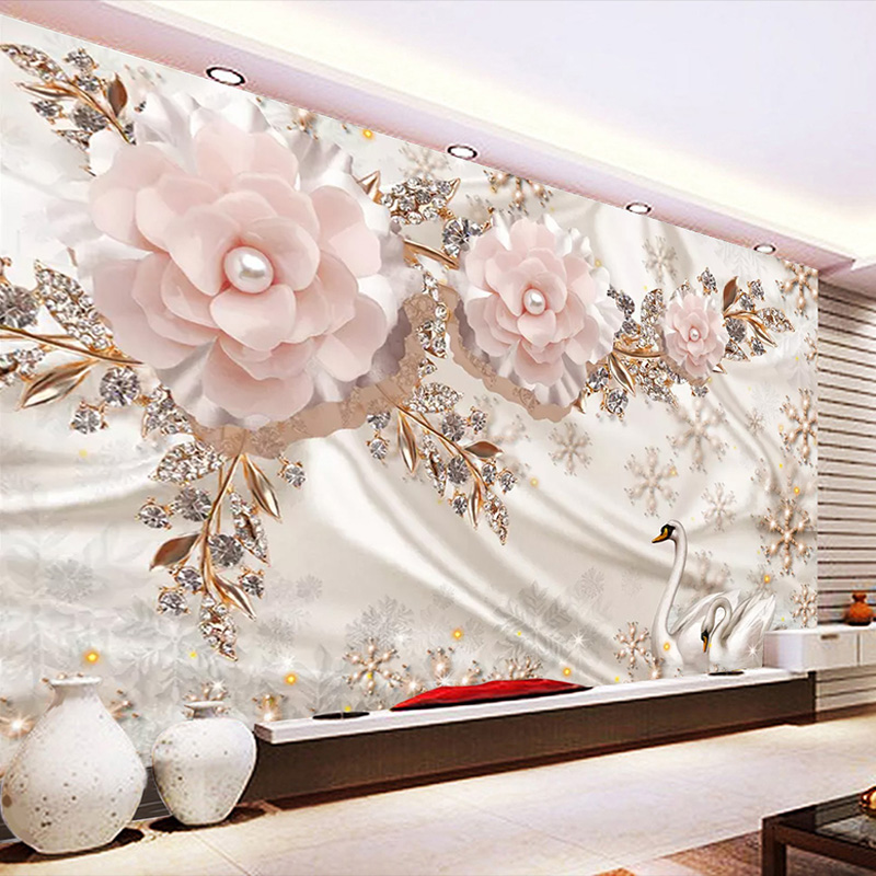 Custom 3D Mural Wall Paper Jewelry Flower Swan Living Room TV Background Wall Decorative Wallpaper Waterproof Canvas Painting