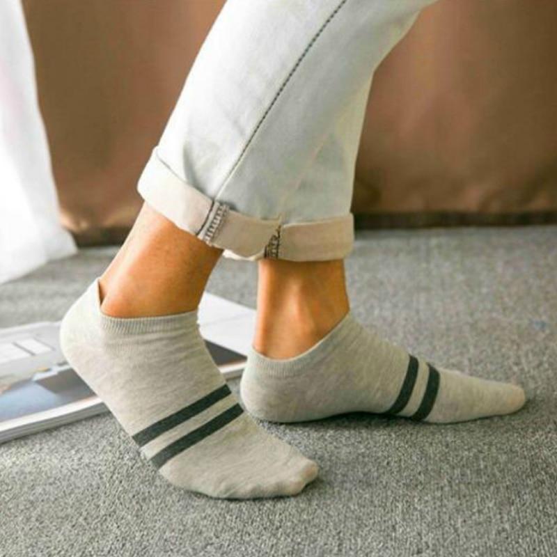 HanHent summer new cotton socks men casual fashion ankle socks funny striped crew socks gifts for men happy short socks