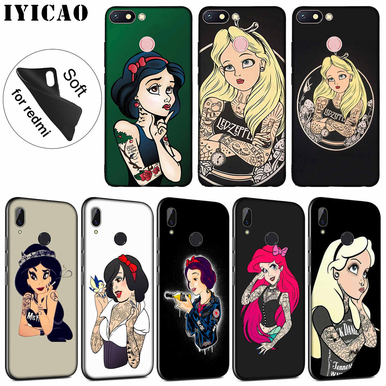 Getatoeëerde Alice Ariel Jasmijn prinses cartoon Soft Case voor Xiaomi Redmi K20 8A 7A 6A 5A S2 4X 4A GAAN note 8 7 5 Plus 6 Pro