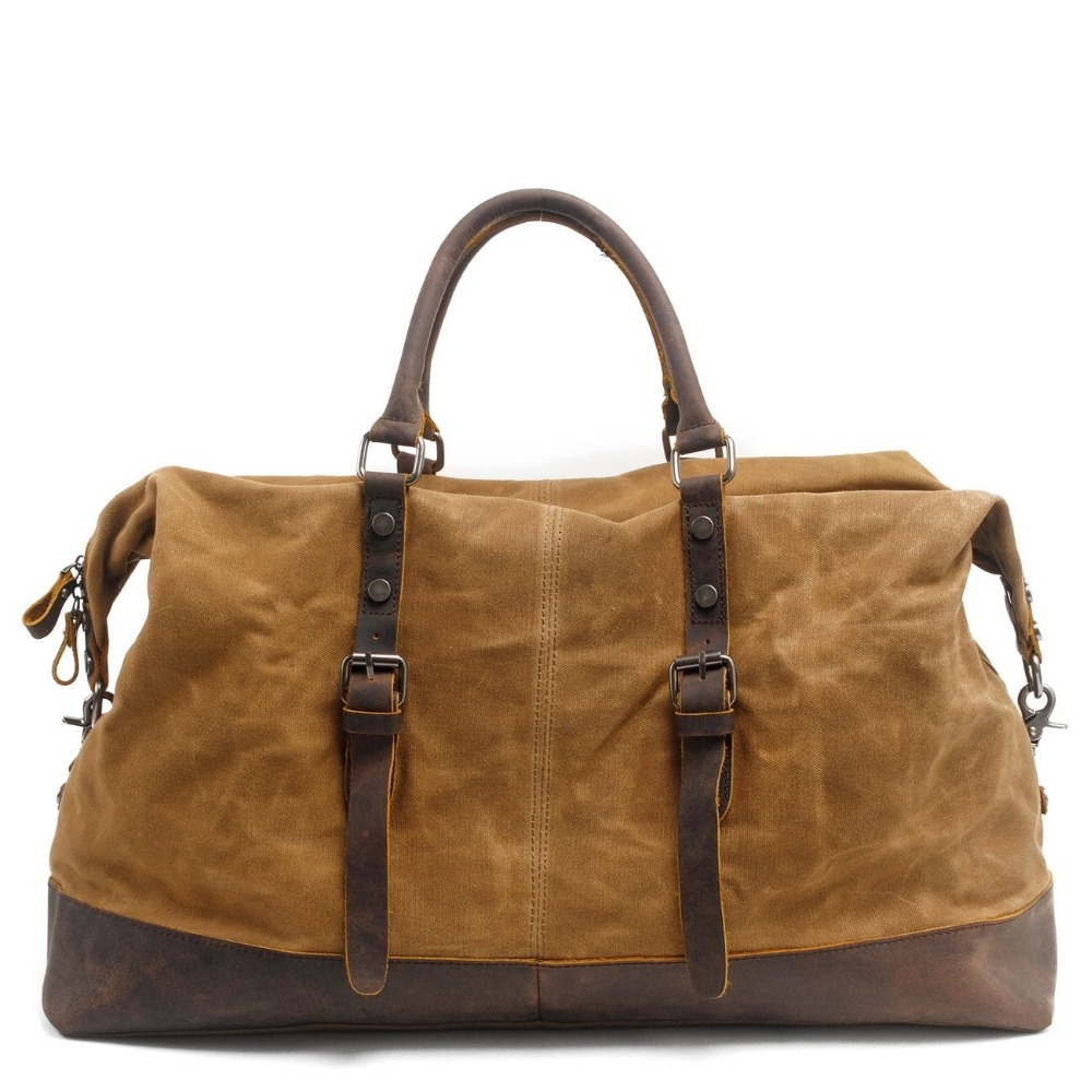 eb1f5a0211 Waterproof Duffel Bag men Canvas Carry On Weekend Bags Vintage Military  Shoulder Handbag Leather Travel Tote Large Overnight Bag-in Travel Bags  from Luggage ...