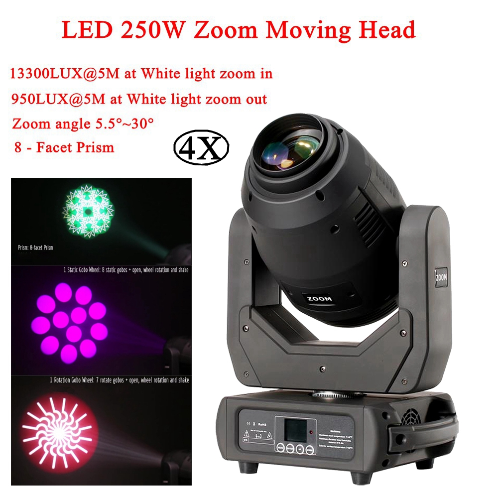4Pcs/Lot Moving Head LED 250W Beam Spot Wash 3IN1 Stage Lighting Professional DMX512 For Disco DJ Music Party KTV Nightclub4Pcs/Lot Moving Head LED 250W Beam Spot Wash 3IN1 Stage Lighting Professional DMX512 For Disco DJ Music Party KTV Nightclub