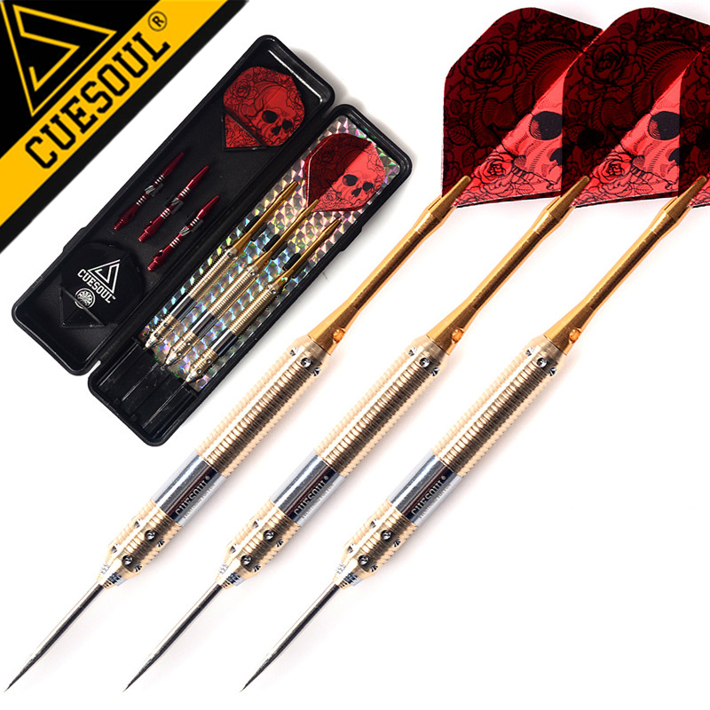 CUESOUL 3PCS 23g 25g 27g Professional Steel Tip Darts Needle With Red Dart Flights cuesoul tungsten steel tip darts 23g 145mm 3pcs set with 90