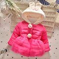 Cute Winter Baby Girls Jackets Newborn Baby Hooded Warm Down Coat Rabbit Ear Outwears Baby Girls Lolita Style Cartoon Clothes