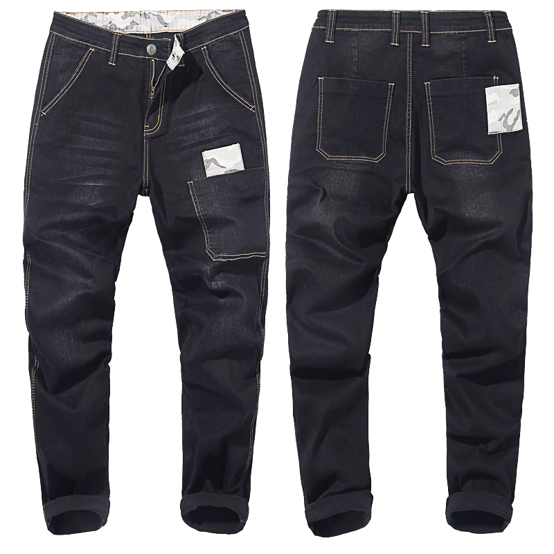 Plus Size 42 44 46 48 Men's Harlan Jeans 2020 New Fashion Camouflage Stitching Elastic Trousers Male Brand Pants Black Blue