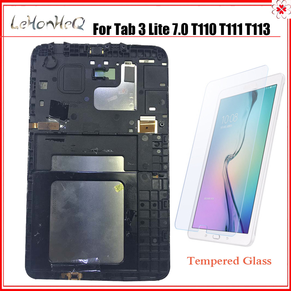 For Samsung galaxy Tab 3 Lite 7.0 T110 T111 T113 T116 T114 Touch screen sensor Panel digitizer assembly LCD Display with frame
