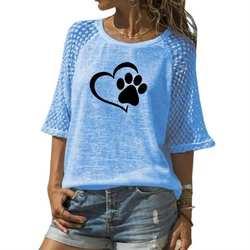 Новая модная футболка для женщин с принтом собаки лапы животных, кружевная футболка с вырезом лодочкой, Футболка женская, большие размеры