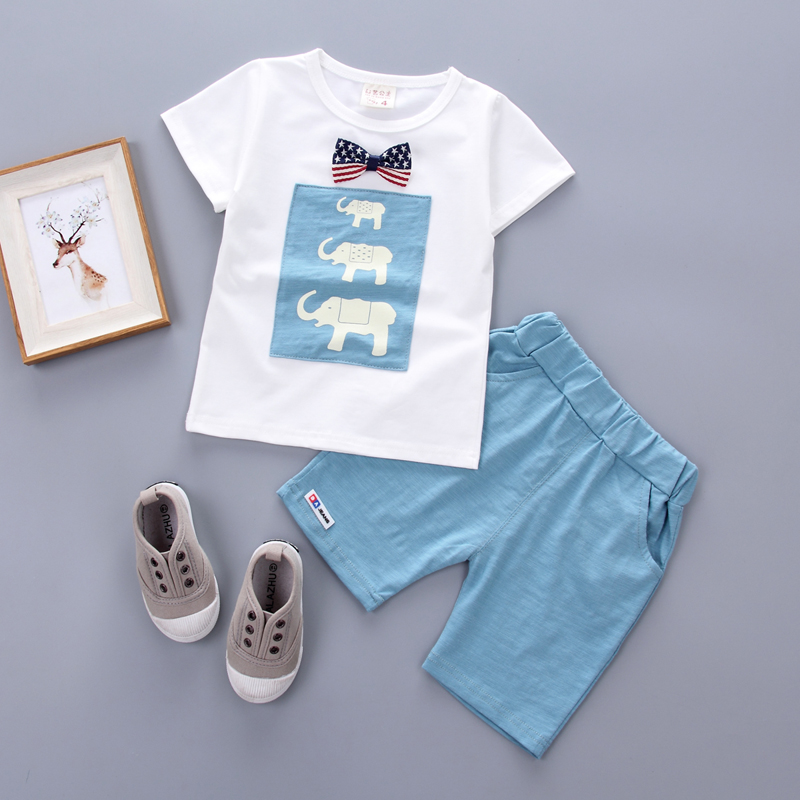 2017 Summer new fashion baby boys clothes set cotton with