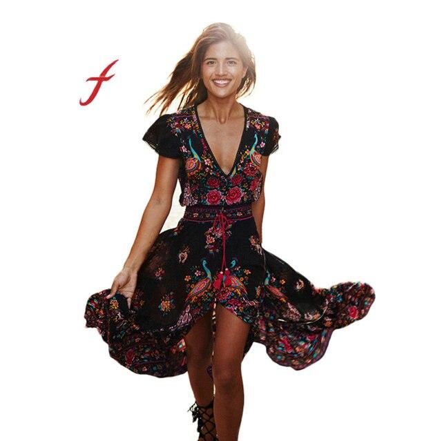 b0bf7f365 2019 Sexy Bohemia impresión vestido largo mujer Maxi vestido largo  estampado Floral Retro Hippie Vestidos Chic Ropa de marca Boho Vestidos