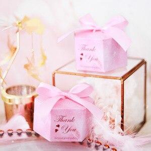 Image 3 - 50/100 rosa Starry Sky Hexagon Candy Boxen Hochzeit Baby Dusche Geschenk Boxen Danke Schokolade Boxen Weihnachten Party Decoraions