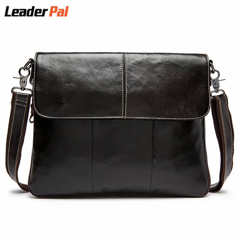 ФОТО Luxury Design Fashion Cowhide Man Messenger Bags Genuine Leather Male CrossBody Bag Casual Men Commercial Briefcase Bag 8007