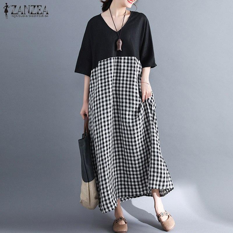 S-5XL ZANZEA Women Summer Dress Casual Short Sleeve V Neck Patchwork Plaid Shirt Dresses Long Maxi Vestido Beach Party Robe Plus