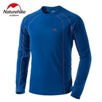 Naturehike Outdoor Winter Hiking Men's Long Sleeve Fleece Warm T-Shirts Round Neck Quick Dry Jackets Liner S-XXL 5 Colors
