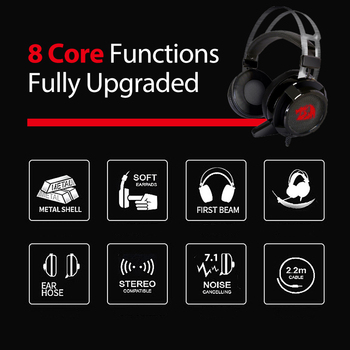 Redragon USB 7.1 Channel Surround Stereo Gaming Headset Over Ear Headphones with Mic Individual Vibration Noise Cancanceling LED