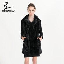 FURSARCAR Plus Size 5XL Vest Black Mink Fur Coat Real Genuine Fur Medium Sleeveless Vest Real Full Pelt Slim Fur Vests BF-C0461